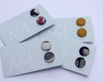 Earrings - button covered with fabric and steel rod stainless hypoallergenic eco - friendly - made of fabrics