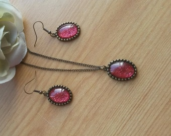 Red and Antique Gold Nail Polish Pendant and Earring Set - NPPS 7
