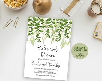Editable Rehearsal Dinner Card, Printable Template (Emily), Instant Download, Editable Text, Greenery, Garden Foliage, PDF