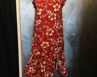 1970s Hawaiian dress/floral dress/Hawaiian/shift dress/Hawaiian print/S-M