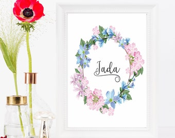Floral name nursery print, Personalized art, Baby name print, Printable gift baby, Custom nursery decor, Baby gift, Personalized nursery art