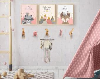 Set of 3 prints, Woodlands nursery, Girl nursery decor, Baby girl nursery, Nursery decor, Nursery wall art, Nursery decor girl, Girl nursery