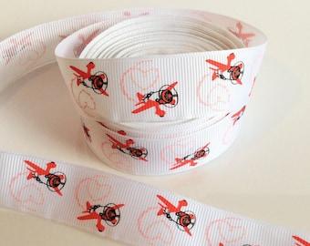 "Airplane Hearts ~ Valentine's Day ~ Grosgrain Ribbon  ~7/8"" ~ 7/8 inch"