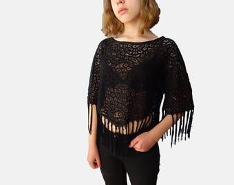 Lace Fringe top, see trough lace black top, fringe crop top, festival style crop top, hippie crop top, 90s black lace crop top XS S M