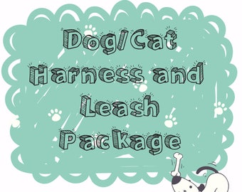 Dog/Cat Harness and Leash Package-H Harness and Textile Leash Set-Matching Harness and Leash Set