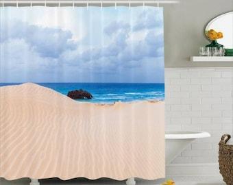 Beach Nautical Shower Curtain, Sand, Ocean, Coastal, Custom Made to Order
