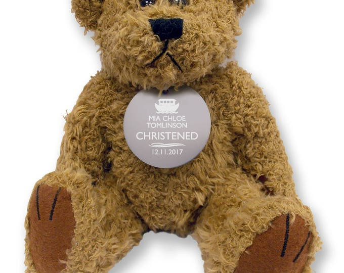 Personalised CHRISTENING teddy bear gift idea with an engraved metal tag  - TED-CHR2
