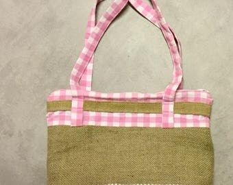 Bag of burlap and cotton pink gingham!