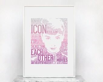 Audrey Hepburn Typography Art Print