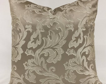 Pillow Cover  - 20 x 20 -  Taupe-  Acanthus Leaf  - Traditional Design - Lined - Zippered