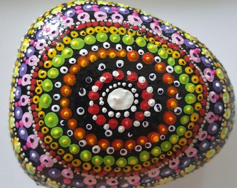 Ablaze, Concentric Circle, Infinity, Painted Rock Art, Acrylic Painted Rock Art, Rock Art, A-Rock-A-Day, Daily Meditation