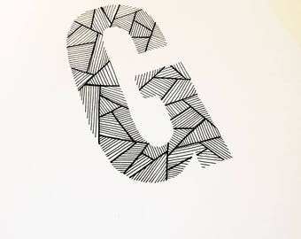 Hand Drawn Geometric Line Letter Illustration