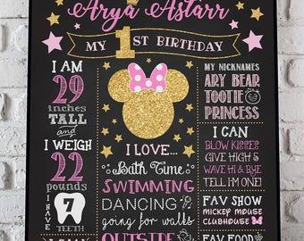 Minnie Mouse Chalkboard Poster, Minnie Chalkboard, Birthday Poster Minnie, Stars 1st Birthday Chalkboard, 2nd Birthday Chalkboard ANY AGE
