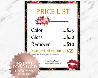 Black|Boho|Floral|LipSense Price List|LipSense Pricing Sheet|SeneGence Pricing|LipSense Price Sign|LipSense Printable|LipSense Instant|Lips