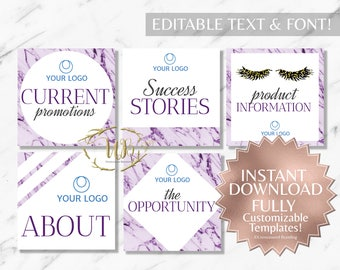 Purple Marble and White Hair Salon and Monat Facebook Album Covers INSTANT Templates