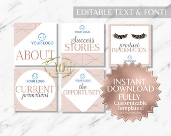 Rose Gold and Blush Pink Hair Salon and Monat Facebook Album Covers INSTANT Templates