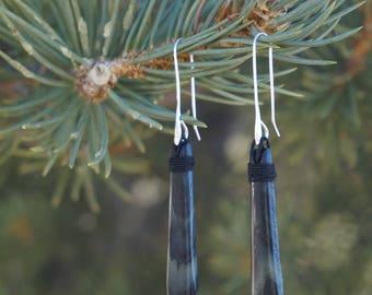 Striped green mystery jade earrings
