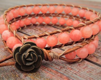 Pink Rose Wrap Bracelet, Quartzite Stone Bracelet, Rose Bracelet, Girly Bracelet, Beaded Bracelet, Boho Bracelet, Leather Wrap Bracelet