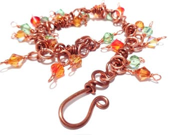 Bracelet made of copper with wire technique and Swarovski crystals