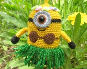 Minion Stuffed/ Toys minion/ Summer Style/ Coconut leaf skirts/ Minion Plush/ Gift for children/ Minion girl/  Minion charm/ banana minion