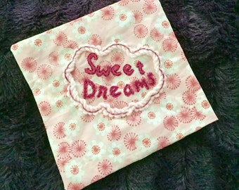 Sweet Dreams Small Embroidered Pillow