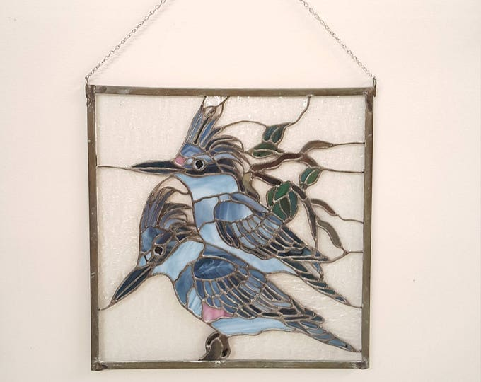 Stained Leaded Glass Panel Window Vintage - Pair of King Fishers Birds