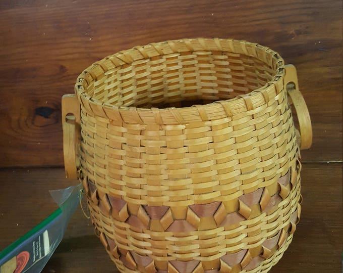 Old Vintage Cherokee Basket Circular Handles Planter Jardiniere Vase Qualla CO-OP Martha Reed