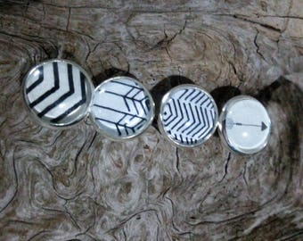 earrings, earring cabochon, 12mm, hypoallergenic, black and white, black and white, arrow, arrow, chevron