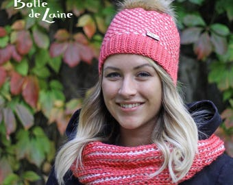 Kit ARTIC, women hat, women infinity scarf, coral and white, Tunisian Crochet and knitting