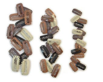 Wig/Weave Hair Extension Clips - 3 Sizes - Black, Blond, Dark Brown, Light Brown, or Auburn - 10 PACK