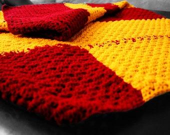 Red Mustard yellow Comfy Blanket