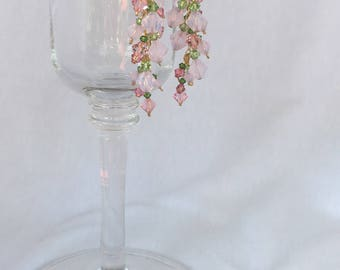 Swarovski Crystal Dangle/Drop Earrings (Pink/Green)