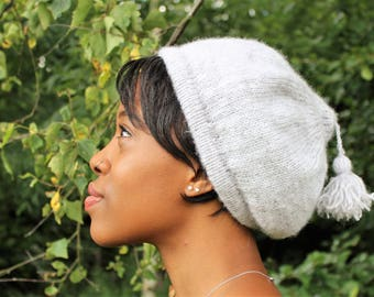 Grey Beret/Tam with Tassel Detail