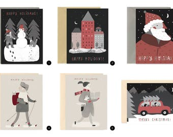 Christmas Cards, Greeting cards for choose, 6 types greeting cards, Xmas gift card, Merry Christmas card