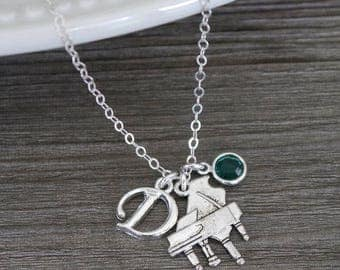 Piano Necklace, Piano Player Necklace, Personalized Piano Necklace, Initial Birthstone, Silver, Piano Jewelry, Gifts for Piano Players