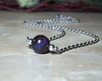 8.5mm Genuine South African Sugilite Necklace, Healing Necklace, Positive thoughts and feelings, Channeling ability, Opens the chakras