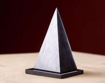 Shungite Pyramid HOLLOW High 2.76&3.94 inches On A Stand Polished Shungite Stone EFM Protection Black Stone Healyng Crystal Chakra Pyramid