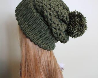 Crochet Slouchy Beanie, Pom Pom Hat, Women's Winter Hat - Army Green