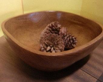 Retro Teak Bowl / Vintage Wooden Bowl / Large Retro Genuine Teak Bowl / Retro Thai Wooden Bowl