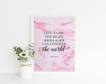 Marilyn Monroe Quote Print - Pink Marble Wall Art Quote - Shoes Quote Print Wall Art  - Typography Quote Print Wall Art - Marble Print