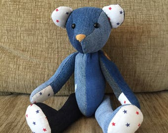 Teddy Bear, Baby shower, Denim Teddy Bear, Fabric bear, Stuffed Animal, Hand-sewn, One of a kind, Gift, Decoration, Boy, Girl