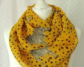 Zebra print infinity scarf, Orange scarf with zebra print, Circle scarf, Chiffon scarf, Scarf for her, Lightweight scarf, Fashion scarf