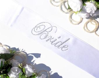 Rhinestone Bride sash, Crystal bride sash, Bridal party sash, White bridal sash, Bridal gift