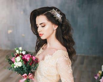 Bridal Headpiece, Pearl Hair Comb, Flower Hair Comb, Flower Headpiece, Crystal Pearl Wedding Headpiece, Rose hair comb, Hair accessories