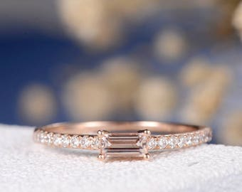 Baguette Morgantie Engagement Ring Rose Gold Women Bridal Set Half Eternity Stacking Minimalist Wedding Band Diamond Delicate Thin Gift