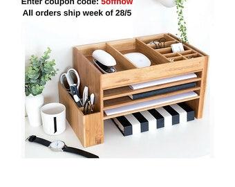 Wood Desk Organisers, Desk Accessories, Stationery Organiser, Desk Accessory, Desk Tidy, The Space Cube, Charging Station