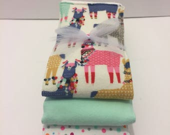 Llama Flannel Burp Cloth Trio