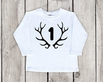 First Birthday Shirt for a Boy, Long Sleeve Birthday Shirt, 1st Birthday Boy Shirt, Birthday Antler Shirt, Reindeer Birthday Shirt