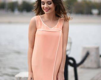 peach short casual summer minimalist viscose wrap dress