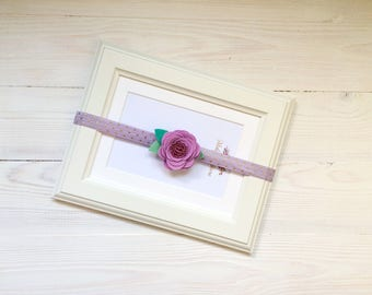 Felt Flower Headband Lilac Rosette Headband Lavender Rose Headband Baby Flower Headband Infant Headband Newborn Photo Prop